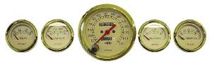 Instrument Gauges - (5 Gauge Set), Mechanical Speedo, Tan Face With Gold Trim Photo Main