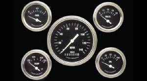 Instrument Gauges - (5 Gauge Set) - Hot Rod Series With Curved Lens (Black Face) 12v Photo Main