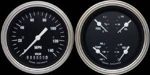 "Instrument Gauges - Ultimate Speedometer (3-3/8"") Speedo Tach Combo With Quad Gauge - Hot Rod Series With Curved Lens (Black Face) 12v Photo Main"