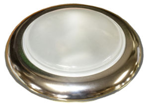 "Interior Light, Universal With Polished Smooth Bezel. 4-3/4"" Dia., White Glass Lens Photo Main"
