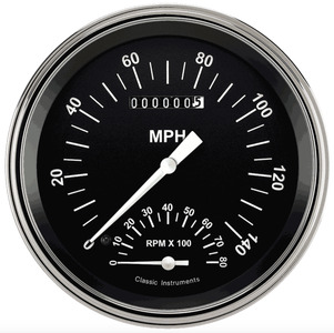 Instrument Gauges - Speedtachular Speedo Tach Combo - Hot Rod Series With Flat Lens (Black Face) 12v Photo Main