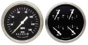"Instrument Gauges - 5"" Speedo & Quad-Cluster - Hot Rod Series With Curved Lens (Black Face) 12v Photo Main"