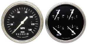 "Instrument Gauges - 5"" Speedo & Quad-Cluster - Hot Rod Series With Flat Lens (Black Face) 12v Photo Main"