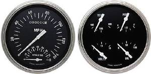 Instrument Gauges - Speedtachular Speedo Tach Combo With Quad Gauge - Hot Rod Series With Curved Lens (Black Face) 12v Photo Main