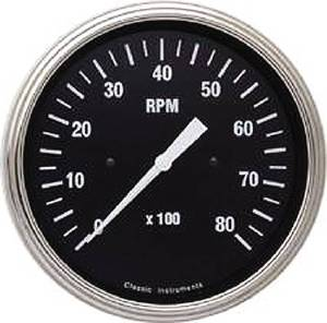 Instrument Gauges - Tach 8000rpm - Hot Rod Series - Flat Lens (Black Face) 12v Photo Main