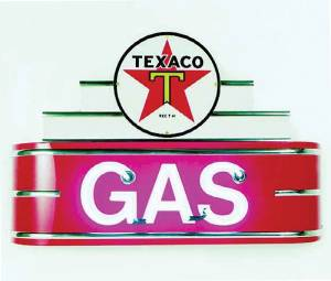 "Sign, Neon Marquee -Texaco Gas. 34"" Length X 24"" Height & 8"" Deep. Black & Red Photo Main"