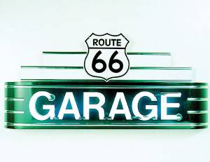 "Sign, Large Neon Marquee -Route 66 Garage. 48"" Length X 24"" Height & 8"" Deep. Green & White Photo Main"