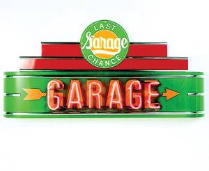 "Sign, Large Neon Marquee -Last Chance Garage. 48"" Length X 24"" Height & 8"" Deep. Green & Red Photo Main"