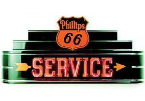"Sign, Large Neon Marquee -Phillips 66 Service. 48"" Length X 24"" Height & 8"" Deep. Black & Red Photo Main"