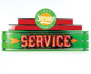 "Sign, Large Neon Marquee -Last Chance Garage Service. 48"" Length X 24"" Height & 8"" Deep. Green & Red Photo Main"