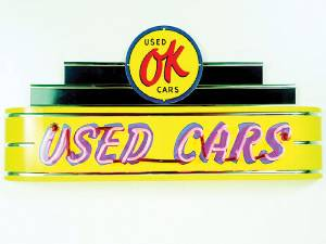 "Sign, Large Neon Marquee -Ok Used Cars. 48"" Length X 24"" Height & 8"" Deep. Yellow Photo Main"