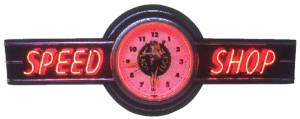 "Clock Sign, Large Neon  -Lady Luck Speed Shop. 6' Length, 26"" Height, 20"" Clock. Red & Yellow Photo Main"