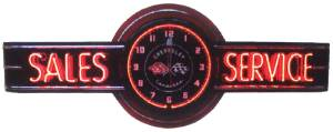 "Clock Sign, Large Neon  -Corvette Sales & Service. 6' Length, 26"" Height, 20"" Clock. Red & Yellow Photo Main"