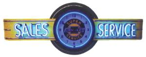 "Clock Sign, Large Neon  -Chevrolet Sales & Service. 6' Length, 26"" Height, 20"" Clock. Red & Yellow Photo Main"