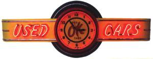 "Clock Sign, Large Neon  -Ok Used Cars. 6' Length, 26"" Height, 20"" Clock. Red & Yellow Photo Main"