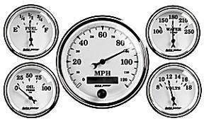 "Instrument Gauges - Auto Meter Old Tyme White Ii Series, 3-3/8"" 5 Gauge (Electric Speedo) Photo Main"