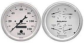 "Instrument Gauges - Auto Meter Old Tyme White, 5"" Quad Gauge & Speedo (Electric) Photo Main"