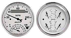 "Instrument Gauges - Auto Meter Old Tyme White, 3-3/8"" Speedo Tach Combo & Quad Gauge Set Photo Main"