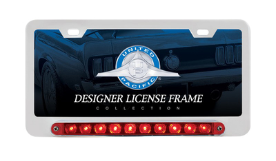 License Plate Frame - Chrome With Split Turn Function 10 Red LED Lights and Red Lens  Photo Main