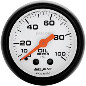 "Instrument Gauges - Auto Meter Phantom Series 2-1/16"" Oil Pressure Gauge. Mechanical 0-100 Psi., Full Sweep Photo Main"
