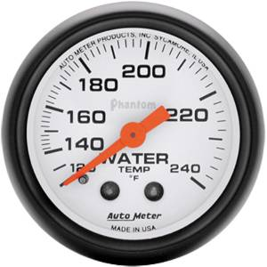 "Instrument Gauges - Auto Meter Phantom Series 2-1/16"" Temp Gauge. Mechanical 120-240 Deg., Full Sweep Photo Main"