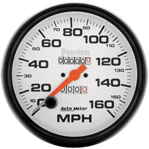 "Instrument Gauges - Auto Meter Phantom Series 5"" 0-160 Mph Mechanical Speedometer Photo Main"