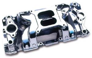 Intake Manifold -Polished Crosswind, Chevy Small Block (Non Egr) Photo Main