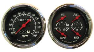 "Instrument Gauges, 3-3/8"" Quad Mechanical Speedo, Black Face  Photo Main"