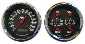 "Instrument Gauges - 3-3/8"" Quad Electronic Speedo, Black Face Photo Main"