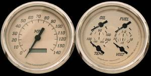 "Instrument Gauges - 3-3/8"" Quad Electronic Speedo, Tan Face Photo Main"