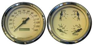 "Instrument Gauges - 5"" Quad Electronic Speedo, Tan Face Photo Main"