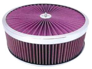 "Air Cleaner, Chrome 14"" X 4"" Super Flow Filter -Washable Element & Dominator Base Photo Main"