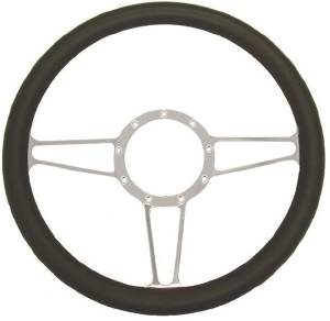 "Steering Wheel, 14"" Chrome Aluminum ""Vintage"" Style With Leather Grip Photo Main"