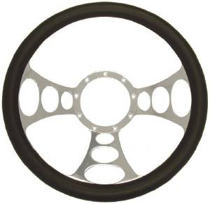 "Steering Wheel, 14"" Chrome Aluminum ""Orbiter"" Style With Leather Grip Photo Main"