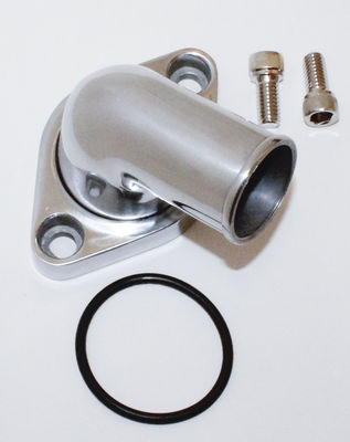 Thermostat Housing (Water Neck) Polished Aluminum 1966-75 Small Block Chevy 283-350 O-Ring  (15 Degree) Photo Main