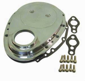 Timing Chain Cover Set -Chrome Aluminum SB Chevy (Includes Gaskets, Seal & Hardware) Photo Main