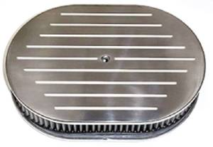 "Air Cleaner, Polished Aluminum 12"" X 2"" Oval -Ball Milled & Washable Element Photo Main"
