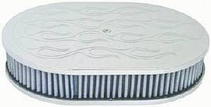 "Air Cleaner, Chrome Aluminum 12"" X 2"" Oval -Flame & Washable Element Photo Main"