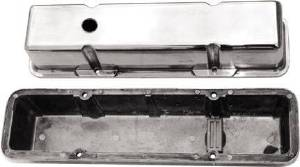 Valve Cover Polished Aluminum Small Block Chevy Tall - Plain With Hole & Baffled (Includes Grommets) Photo Main