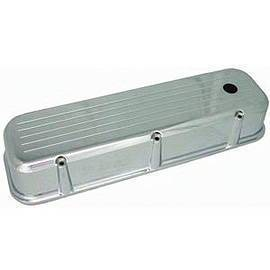 Valve Cover Chrome Aluminum Small Block Chevy Tall - Ball Milled With Hole & Baffled (Includes Grommets) Photo Main