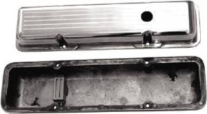 Valve Cover Polished Aluminum Small Block Chevy Short - Ball Milled With Hole & Baffled (Includes Grommets) Photo Main