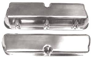 Polished Alum Small Block Ford Tall Valve Cover - Plain Without Hole & Baffled Photo Main