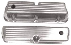 Polished Alum Small Block Ford Tall Valve Cover - Ballmilled With Hole & Baffled Photo Main