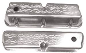 Polished Alum Small Block Ford Tall Valve Cover - Flame With Hole & Baffled Photo Main