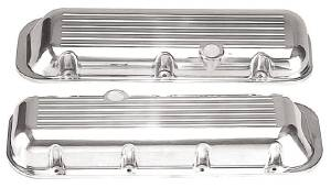 Valve Cover Polished Aluminum Big Block Chevy Short - Ball Milled With Hole & Baffled (Grommets & Bolts) Photo Main