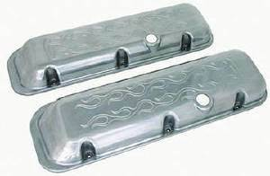 Valve Cover Chrome Aluminum Big Block Chevy Short - Flame With Hole & Baffled (Grommets & Bolts) Photo Main