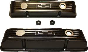 "Valve Covers - Chevy Sb, Black Aluminum With ""Chevrolet"" & Bowtie, Short Photo Main"