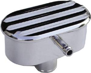 Valve Cover Breather, Polished Aluminum Oval Push-In W/ PCV - Finned Photo Main