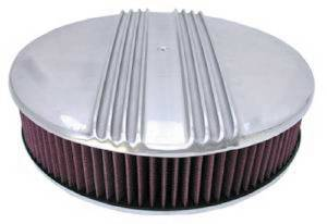 "Air Cleaner, Polished Aluminum 14"" X 3"" Round -Finned, Washable Element & Off-Set Base Photo Main"