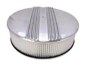 "Air Cleaner Set -Polished Aluminum 14"" X 4"" Round Finned, Paper Element & Flat Base Photo Main"